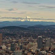 Mount Hood View Over Portland Cityscape Art Print