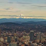 Mount Hood View Over Portland Cityscape Panorama Art Print