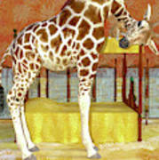 Ms Kitty And Her Giraffe  Art Print
