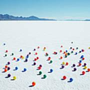 Multi-colored Balls On Salt Flats Art Print