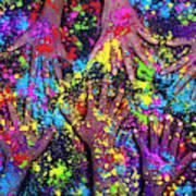 Multicoloured Powder Hands Panoramic Art Print
