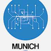 Munich Blue Subway Map Art Print