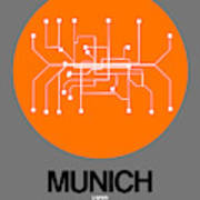 Munich Orange Subway Map Art Print