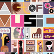 Musical Collage Of Various Images - Art Print