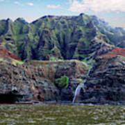 Napali Cave And Waterfall Art Print