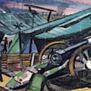 A Howitzer Firing, 1918 Art Print