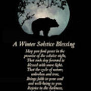 Native American Inspired Winter Solstice Blessings With Bear Art Print