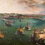 Naval Battle In The Gulf Of Naples Art Print