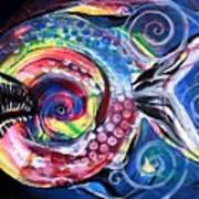 Neon Piranha Art Print