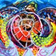 Neon Sea Turtle Wake And Drag Art Print