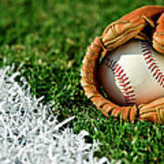 New Baseball In Glove Along Foul Line Art Print