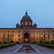 New Delhi President House At Night Art Print