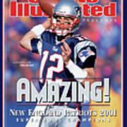 New England Patriots Qb Tom Brady, Super Bowl Xxxvi Sports Illustrated Cover Art Print