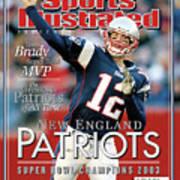New England Qb Tom Brady, Super Bowl Xxxviii Champions Sports Illustrated Cover Art Print