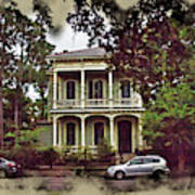 New Orleans Home In Watercolor Art Print