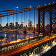New York City - Beautiful Sunset Over Art Print