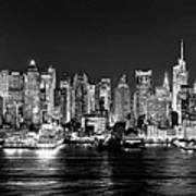New York City NYC Skyline Midtown Manhattan at Night Black and White Art Print
