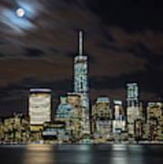 New York City Skyline At Night Art Print
