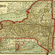 Old Map Of New York.New York State Old Map Poster