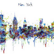 New York Watercolor Skyline Art Print