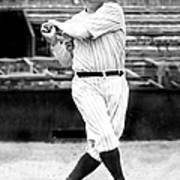 New York Yankees Babe Ruth Swinging His Art Print
