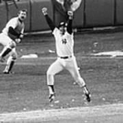 New York Yankees Chris Chambliss Jumps Art Print