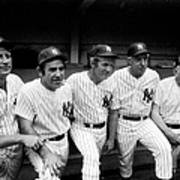 New York Yankees Hall Of Famers At Old Art Print