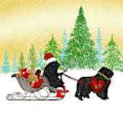 Newfoundland Dog Christmas Art Print