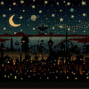 Night Scene Illustration With Ufo Art Print