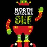 North Carolina Elf Xmas Elf Santa Helper Christmas Art Print