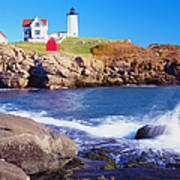 Nubble Lighthouse And Coastine Of Maine Art Print