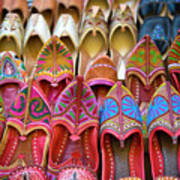 Numerous Colorful Embroidered Shoes Art Print
