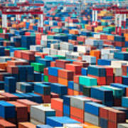 Numerous Shipping Containers In Port Art Print