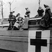 Nurses On A Hospital Barge - Wwi France - 1917 Art Print
