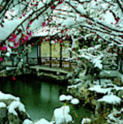 Ny Chinese Scholars Garden, Spring Snow Art Print