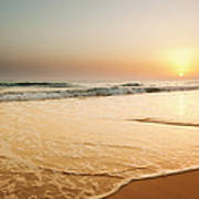 Ocean Beach Sunset Landscape View Art Print