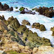 Ocean Rocks In Puerto Vallarta Mexico Art Print