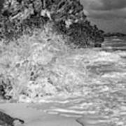 Ocean Wave Splash In Black And White Art Print