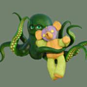 Octopus Green And Bear Art Print