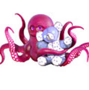 Octopus Pink With Bear Art Print