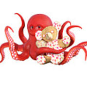 Octopus Red With Bear Art Print