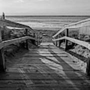 Ogunquit Beach Footbridge At Sunrise Ogunquit Maine Black And White Art Print
