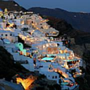 Oia, Santorini Greece At Night Art Print
