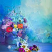 Oil Painting Flowers In Vase. Hand Art Print