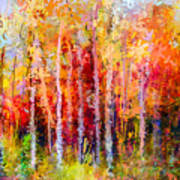 Oil Painting Landscape, Colorful Autumn Art Print