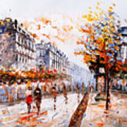 Oil Painting - Street View Of Paris Art Print