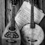 Old Banjo And Mandolin Black And White Art Print