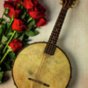 Old Banjo And Roses Art Print