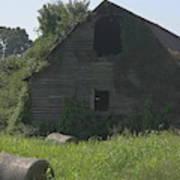 Old Barn And Hay Bales 3 Art Print