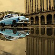 Old Blue Car In Havana Art Print